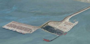 An artist's rendering of the proposed Roberts Bank Terminal 2 Project, adjacent to the existing Roberts Bank terminals.