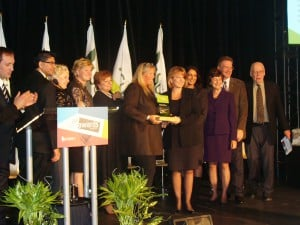 Tammy Ritchie of the WPRRA receives the 2011 City of Surrey Community Environmental Award from Mayor Watts and Council.